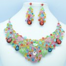 Silver Tone Multicolor Flower Necklace Earring Set W/ Rhinestone Crystals 02608