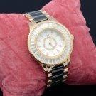 Black Ceramic Band Quartz Wristwatch Watch W/ Clear Crystals WT00212