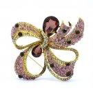 "Teardrop Purple Bowknot Riband Flower Brooch Pin W/ Rhinestone Crystal 3.7"""