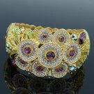 High Quality Flower Bracelet Bangle Cuff W/ Purple Swarovski Crystals SKCA1747