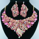 Rhinestone Crystals Popular Fuchsia Leaf Flower Necklace Earring Sets 02646
