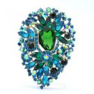"Vintage Style Teardrop Green Flower Brooch Pin Rhinestone Crystals 3.9"""