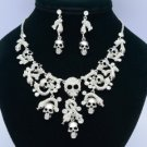 Rhinestone Crystals Vintage Style Clear Snake Bone Skull Necklace Earring Sets
