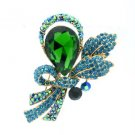 "Vogue Green Rhinestone Crystals Flower Brooch Broach Pin 2.7"" 8805982"
