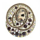 "Charming Round Flower Brooch Pin 3.0"" W/ Brown Rhinestone Crystals"
