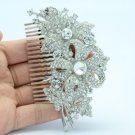 "3.7"" Bridal Clear Flower Hair Comb W Swarovski Crystals For Wedding 4237"
