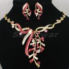 High Quality Red Leaf Necklace Earring Set W/ Swarovski Crystals 880501