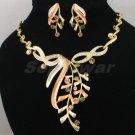 High Quality Topaz Leaf Necklace Earring Set W/ Swarovski Crystals 880201