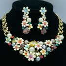 High Quality Imitation Pearl Flower Necklace Earring Set W/ Swarovski Crystals
