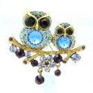 High Qulaity Cute Blue Owl Brooch Broach Pin W/ Swarovski Crystals SBA4442