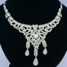 Wedding Bride Dangle Clear Flower Necklace w/ Rhinestone Crystals
