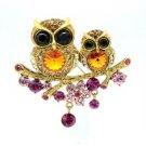 High Qulaity Cute Topaz Owl Brooch Broach Pin W/ Swarovski Crystals SBA4442-1