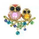 High Qulaity Multicolor Owl Brooch Broach Pin W/ Swarovski Crystals SBA4442-3