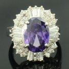 Swarovski Crystals Amethyst Zircon Cocktail Ring Size 8#