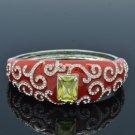 Red Enamel Flower Bracelet Bangle Cuff W/ Clear Rhinestone Crystals 20419