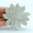 "3.4"" Bridal Lotus Flower Hair Comb W/ Rhinestone Crystals For Wedding 4784"
