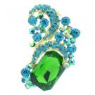 "New Chic Green Flower Brooch Pin 2.4"" Rhinestone Crystals 6045"