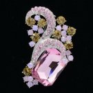 "New Chic Pink Flower Brooch Pin 2.4"" Rhinestone Crystals 6045"