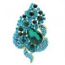 """New Emerald Floral Flower Brooch Broach Pin 3.5"""" W/ Rhinestone Crystals 6023"""