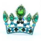 """Fashion Green Crown Pendant Brooch Broach Pin 2.3"""" W/ Rhinestone Crystals 5050"""