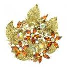 """New Topaz Floral Flower Brooch Broach Pin 2.9"""" W/ Rhinestone Crystals 6029"""