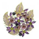 "New Purple Floral Flower Brooch Broach Pin 2.9"" W/ Rhinestone Crystals 6029"