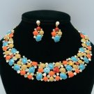 Swarovski Crystal Vogue Multicolor Enamel Flower Necklace Earring Sets JNA2328-1