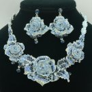 Silver Tone Fancy Blue Rose Flower Necklace Earring Set W/ Swarovski Crystal