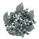 "New Gray Floral Flower Brooch Broach Pin 2.9"" W/ Rhinestone Crystals 6029"