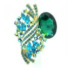 """2.6"""" Chic Flower Brooch Broach Pin Pendant W/ Emerald Rhinestone Crystals 6046"""
