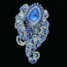 """Fashion Blue Flower Brooch Broach Pin 3.1"""" w/ Rhinestone Crystals 4891"""