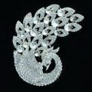 "Vintage Peacock Bird Brooch Pin 3.7"" w/ Clear Rhinestone Crystals 6021"