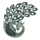 "Vintage Peacock Bird Brooch Pin 3.7"" w/ Gray Grey Rhinestone Crystals 6021"
