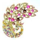 """Vintage Peacock Bird Brooch Pin 3.7"""" w/ Multi Color Rhinestone Crystals 6021"""