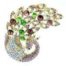 "New Vintage Peacock Bird Brooch Pin 3.7"" w/ Purple Rhinestone Crystals 6021"