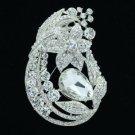 """Silver Tone Rhinestone Crystals Clear Leaf Flower Brooch Pin 3.3"""" Wedding 6020"""