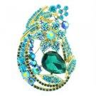 """Gold Tone Rhinestone Crystals Blue Leaf Flower Brooch Broach Pin 3.3"""" 6020"""