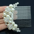 Clear Swarovski Crystal Wedding Imitate Pearl Flower Hair Comb 552101