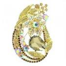 """Vintage Style Rhinestone Crystals Topaz Leaf Flower Brooch Broach Pin 3.3"""" 6020"""
