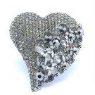 "Vogue Huge Love Heart Brooch Pin 3.6"" W/ Gray Swarovski Crystals"