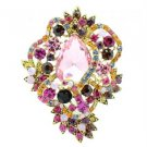 "Vintage Style Flower Brooch Broach Pin 3.0"" W/ Mix Rhinestone Crystals 6039"