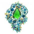 "Vintage Style Flower Brooch Broach Pin 3.0"" W/ Blue Rhinestone Crystals 6039"