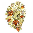 "Chic Flower Brooch Pin 3.5"" W/ Brown Rhinestone Crystals  6075"