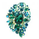 "Chic Flower Brooch Pin 3.5"" W/ Green Rhinestone Crystals  6075"