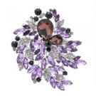 """Pretty Flower Leaf Brooch Pin 4.1"""" W/ Purple Rhinestone Crystals 8804672"""
