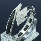 Swarovski Crystals Synthetic Leather Clear Snake Bracelet Bangle W/ Silver Tone