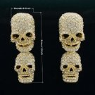 Fearsome Swarovski Crytals Drop Clear Dangle Pierced Skull Earring For Halloween