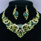 Trendy Oval Flower Necklace Earring Set W/ Peridot Rhinestone Crystals 04312