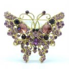 Vintage Style Cute Butterfly Brooch Pin W/ Purple Rhinestone Crystals 4895