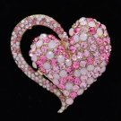 "Vintage Style Heart Brooch Broach Pin 2.6"" W/ Pink Rhinestone Crystals 4817"